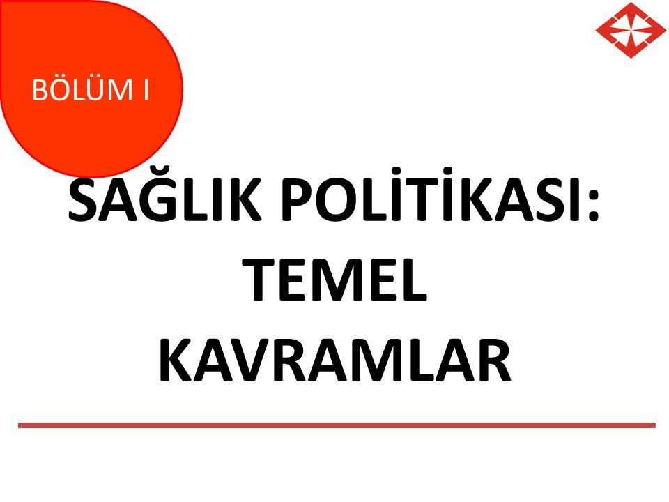 SAĞLIK POLİTİKASI: TEMEL KAVRAMLAR BÖLÜM I