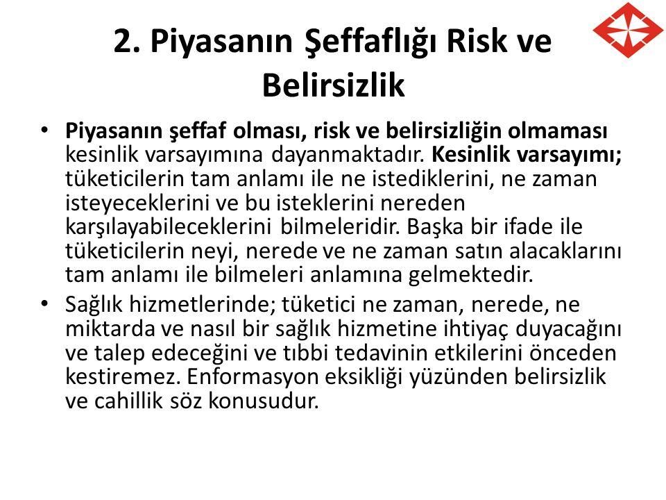 2. Piyasanın Şeffaflığı Risk ve Belirsizlik Piyasanın şeffaf olması, risk ve belirsizliğin olmaması kesinlik varsayımına dayanmaktadır. Kesinlik varsa