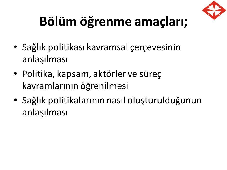 TEMEL TANIMLAR Siyaset (Politics): Bir ülkeyi veya şehri yönetmekle ilgili iş ve fikirler.