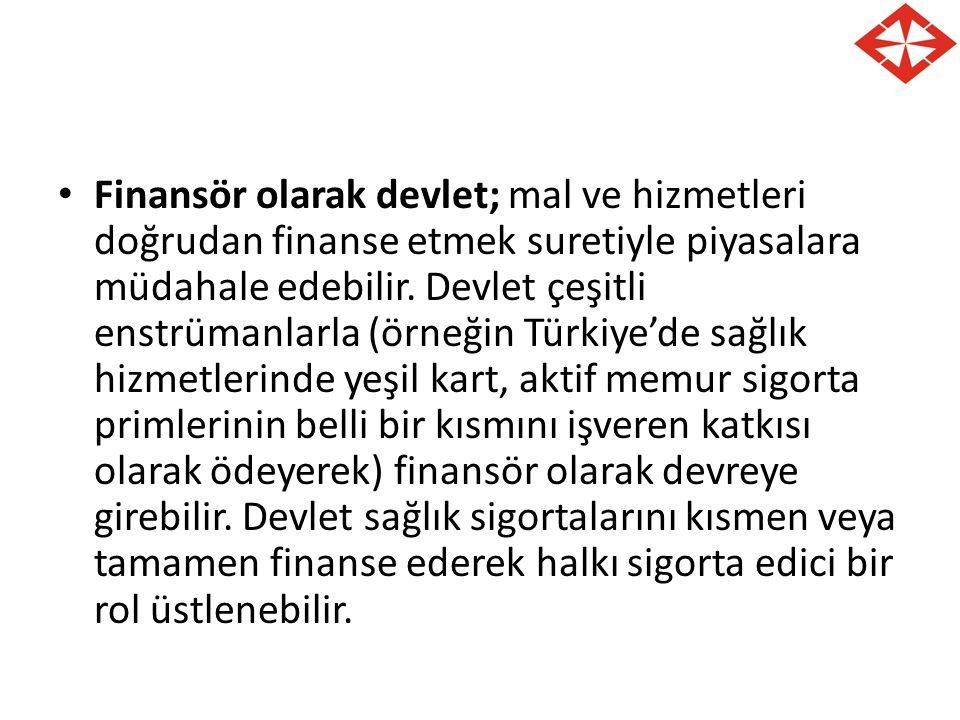 Finansör olarak devlet; mal ve hizmetleri doğrudan finanse etmek suretiyle piyasalara müdahale edebilir. Devlet çeşitli enstrümanlarla (örneğin Türkiy