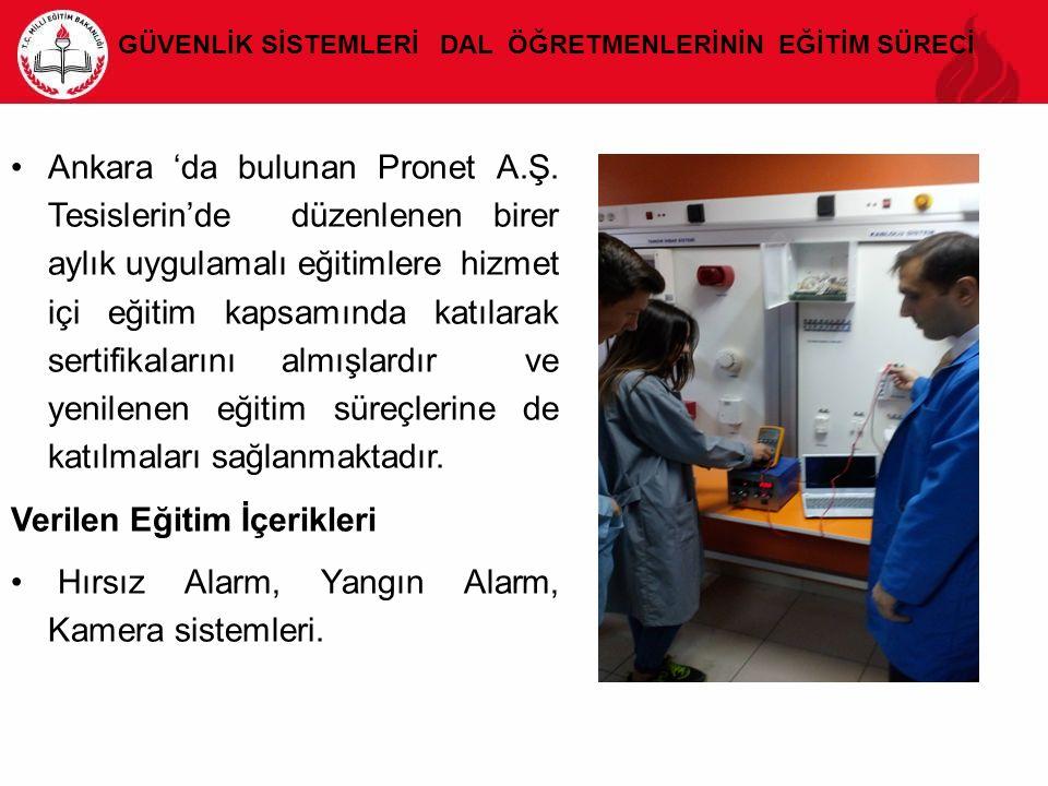 GÜVENLİK SİSTEMLERİ DAL ÖĞRETMENLERİNİN EĞİTİM SÜRECİ Ankara 'da bulunan Pronet A.Ş. Tesislerin'de düzenlenen birer aylık uygulamalı eğitimlere hizmet