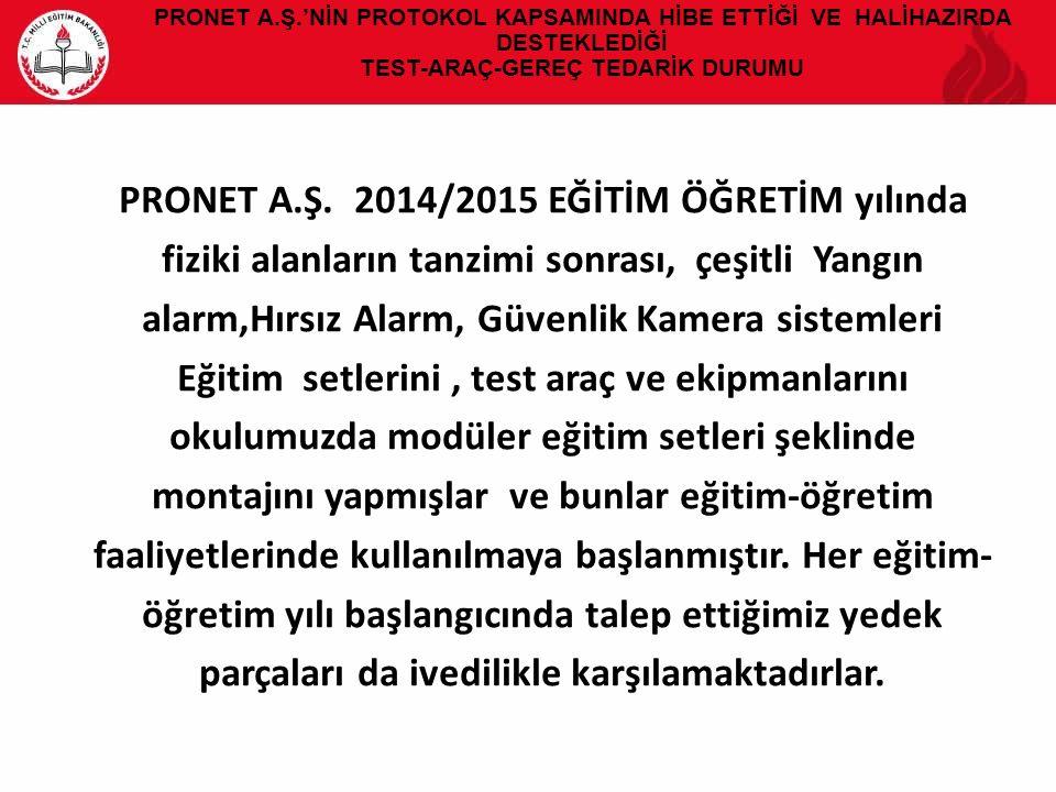 PRONET A.Ş.'NİN PROTOKOL KAPSAMINDA HİBE ETTİĞİ VE HALİHAZIRDA DESTEKLEDİĞİ TEST-ARAÇ-GEREÇ TEDARİK DURUMU PRONET A.Ş. 2014/2015 EĞİTİM ÖĞRETİM yılınd