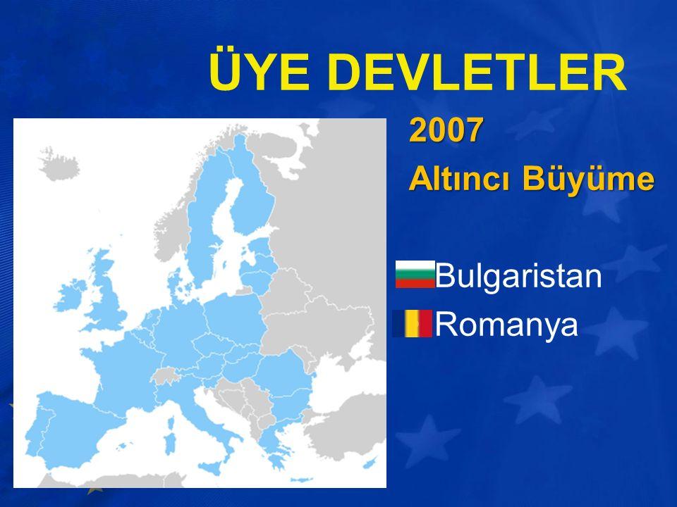 ÜYE DEVLETLER 2007 Altıncı Büyüme Bulgaristan Romanya