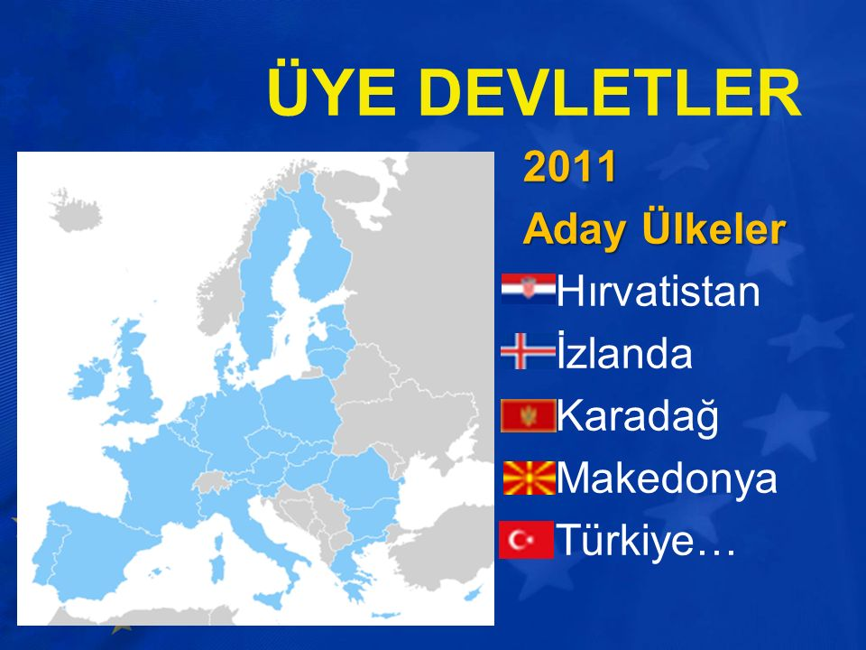 ÜYE DEVLETLER 2011 Aday Ülkeler Hırvatistan İzlanda Karadağ Makedonya Türkiye…
