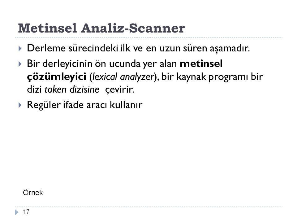Metinsel Analiz-Scanner  Derleme sürecindeki ilk ve en uzun süren aşamadır.