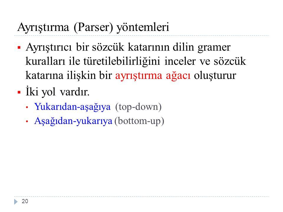 Ayrıştırma (Parser) yöntemleri  Ayrıştırıcı bir sözcük katarının dilin gramer kuralları ile türetilebilirliğini inceler ve sözcük katarına ilişkin bir ayrıştırma ağacı oluşturur  İki yol vardır.