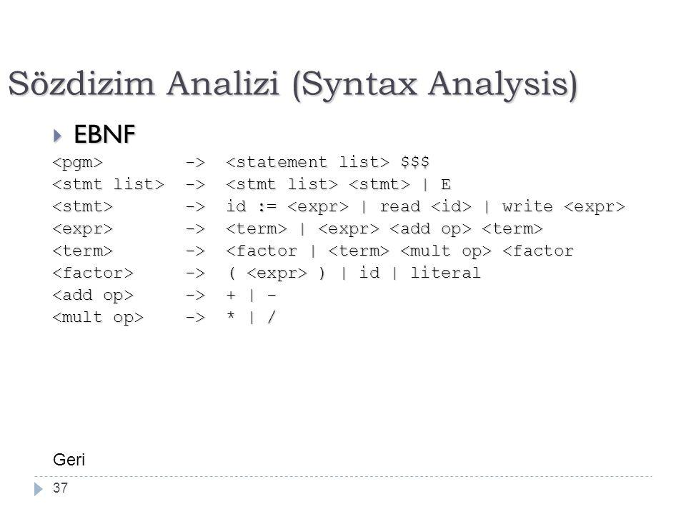 Sözdizim Analizi (Syntax Analysis)  EBNF -> $$$ -> $$$ -> | E -> | E -> id := | read | write -> id := | read | write -> | -> | -> -> <factor -> ( ) | id | literal -> ( ) | id | literal -> + | - -> + | - -> * | / -> * | / 37 Geri
