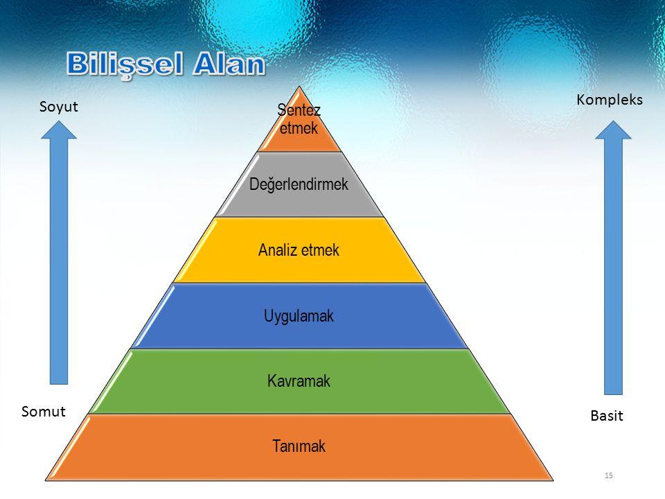 / 3715 Sentez etmek Değerlendirmek Analiz etmek Uygulamak Kavramak Tanımak Basit Kompleks Soyut Somut