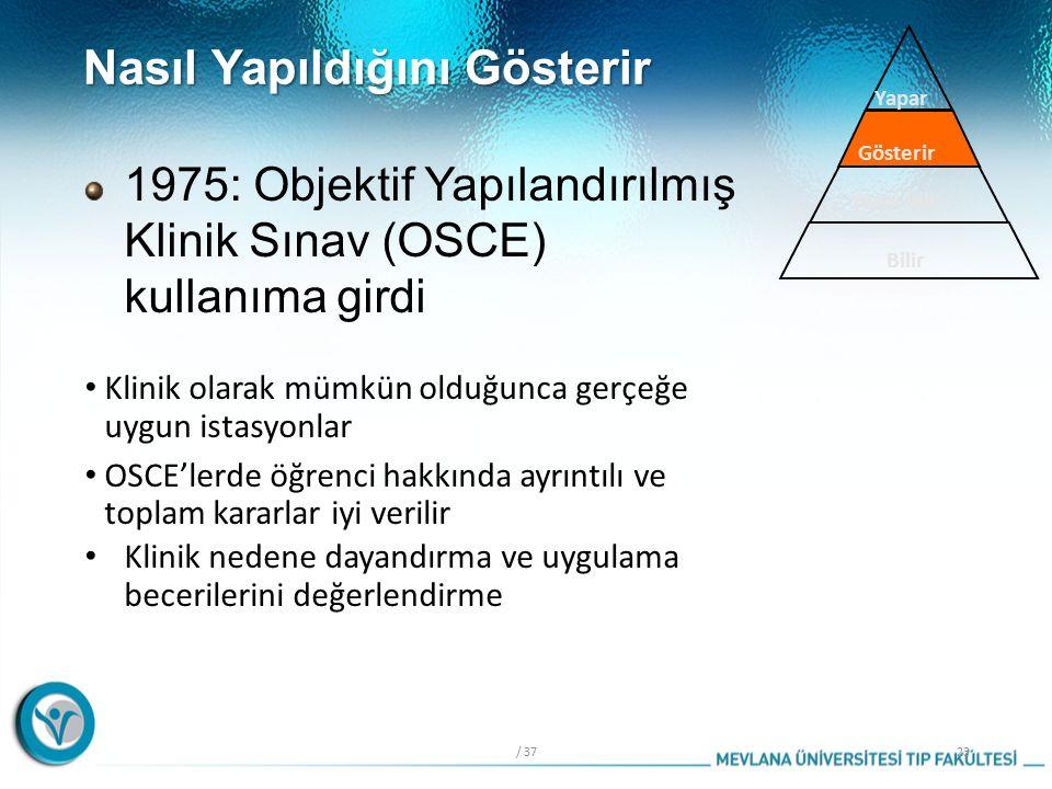 Nasıl Yapıldığını Gösterir Klinik olarak mümkün olduğunca gerçeğe uygun istasyonlar OSCE'lerde öğrenci hakkında ayrıntılı ve toplam kararlar iyi verilir Klinik nedene dayandırma ve uygulama becerilerini değerlendirme / 3723 Bilir Nasıl bilir Gösterir Yapar 1975: Objektif Yapılandırılmış Klinik Sınav (OSCE) kullanıma girdi