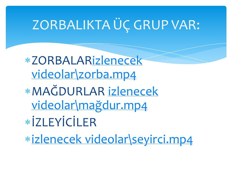  ZORBALARizlenecek videolar\zorba.mp4izlenecek videolar\zorba.mp4  MAĞDURLAR izlenecek videolar\mağdur.mp4izlenecek videolar\mağdur.mp4  İZLEYİCİLE