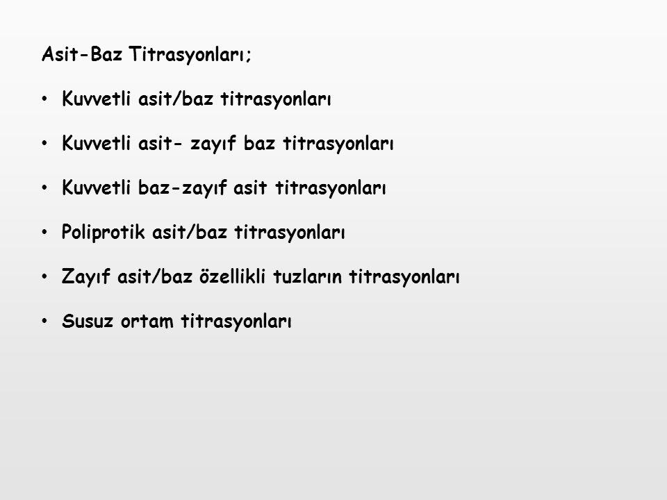 Asit-Baz Titrasyonları; Kuvvetli asit/baz titrasyonları Kuvvetli asit- zayıf baz titrasyonları Kuvvetli baz-zayıf asit titrasyonları Poliprotik asit/b