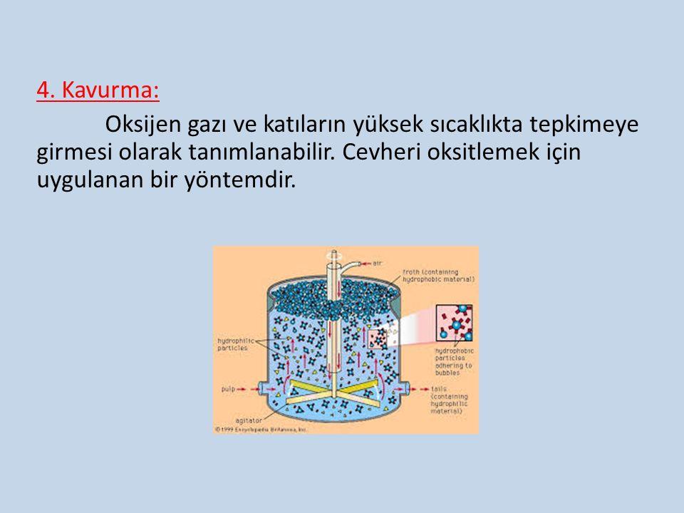 4. Kavurma: Oksijen gazı ve katıların yüksek sıcaklıkta tepkimeye girmesi olarak tanımlanabilir. Cevheri oksitlemek için uygulanan bir yöntemdir.