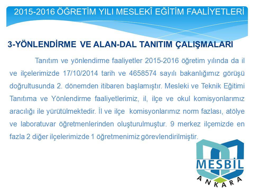 3-YÖNLENDİRME VE ALAN-DAL TANITIM ÇALIŞMALARI Tanıtım ve yönlendirme faaliyetler 2015-2016 öğretim yılında da il ve ilçelerimizde 17/10/2014 tarih ve 4658574 sayılı bakanlığımız görüşü doğrultusunda 2.