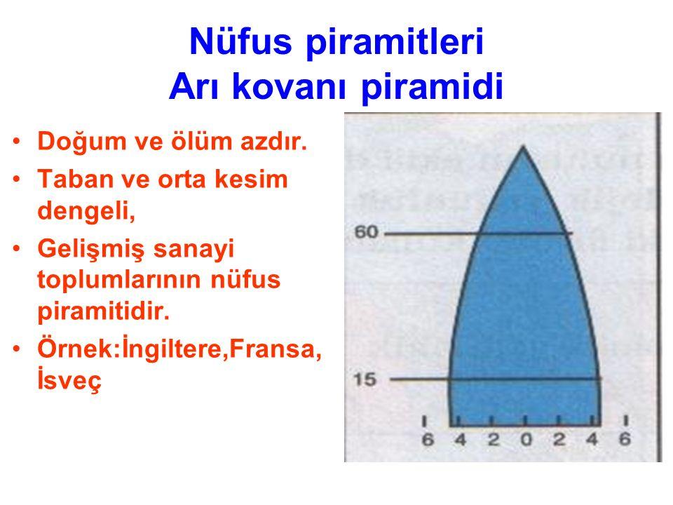 Nüfus piramitleri Arı kovanı piramidi Doğum ve ölüm azdır. Taban ve orta kesim dengeli, Gelişmiş sanayi toplumlarının nüfus piramitidir. Örnek:İngilte
