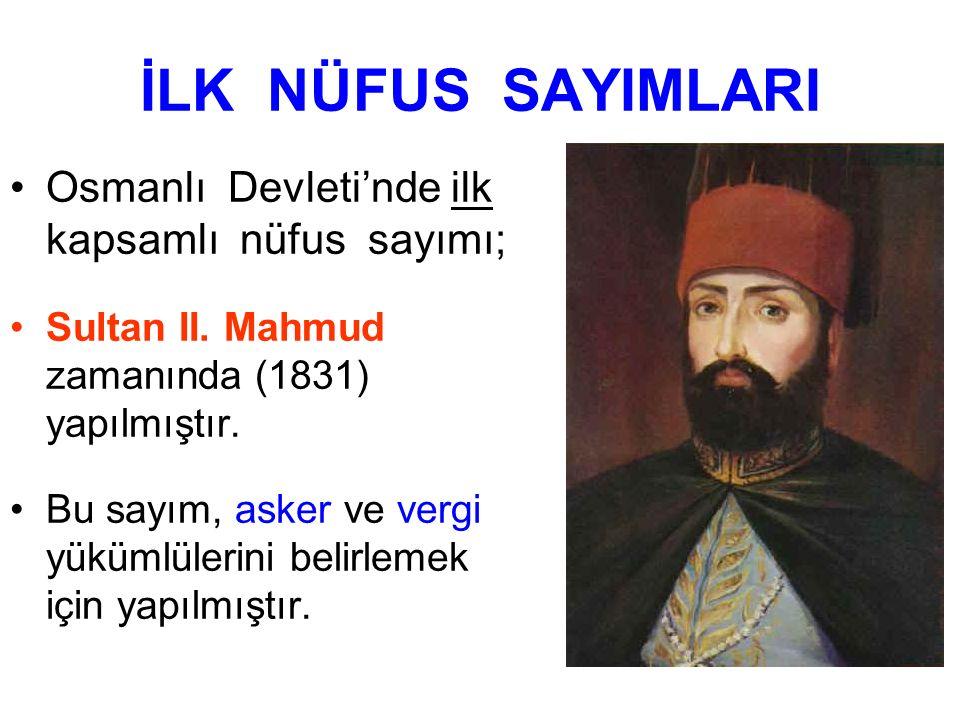 İLK NÜFUS SAYIMLARI Osmanlı Devleti'nde ilk kapsamlı nüfus sayımı; Sultan II. Mahmud zamanında (1831) yapılmıştır. Bu sayım, asker ve vergi yükümlüler