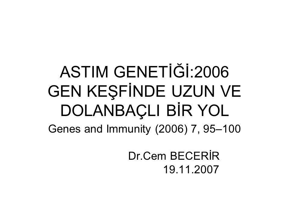 ASTIM GENETİĞİ:2006 GEN KEŞFİNDE UZUN VE DOLANBAÇLI BİR YOL Genes and Immunity (2006) 7, 95–100 Dr.Cem BECERİR 19.11.2007