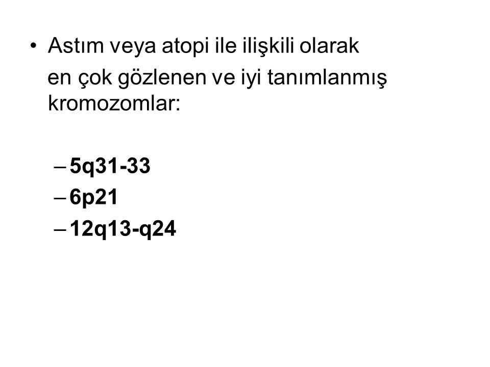 Astım veya atopi ile ilişkili olarak en çok gözlenen ve iyi tanımlanmış kromozomlar: –5q31-33 –6p21 –12q13-q24