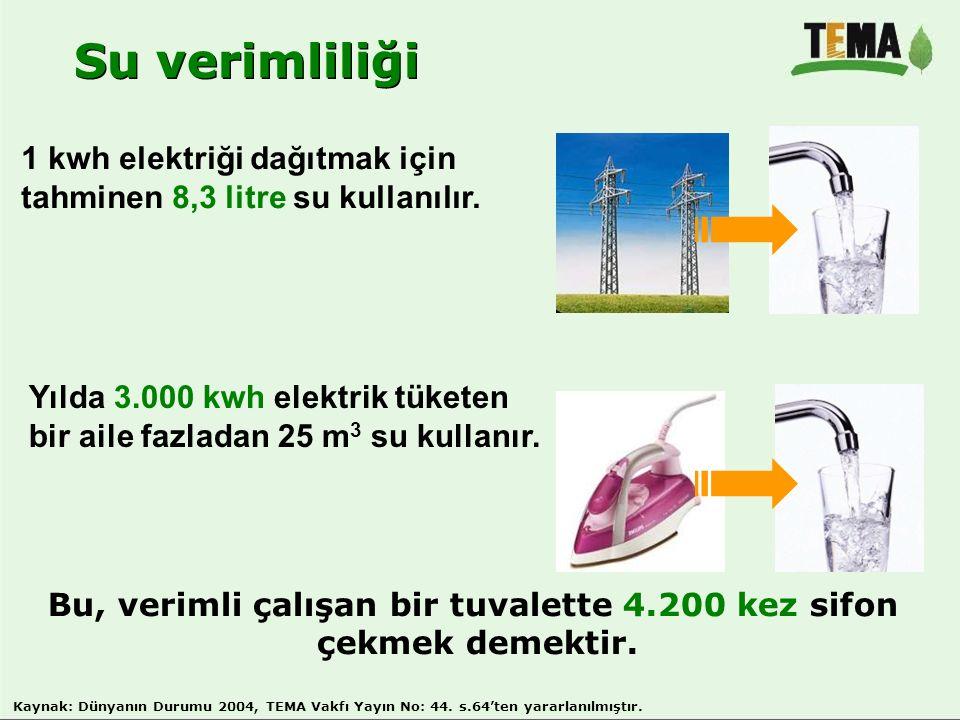 Su verimliliği Bu, verimli çalışan bir tuvalette 4.200 kez sifon çekmek demektir. 1 kwh elektriği dağıtmak için tahminen 8,3 litre su kullanılır. Yıld