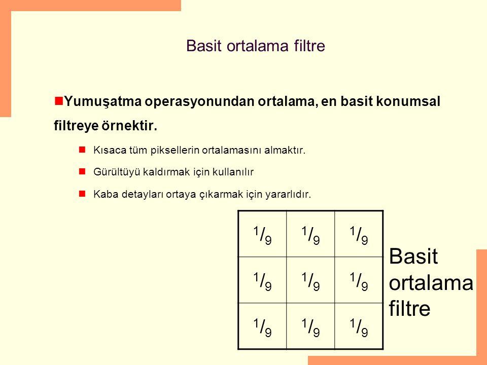 Basit ortalama filtre Yumuşatma operasyonundan ortalama, en basit konumsal filtreye örnektir. Kısaca tüm piksellerin ortalamasını almaktır. Gürültüyü