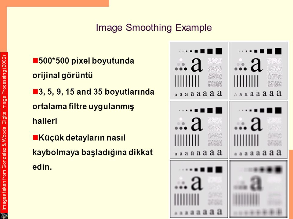 Image Smoothing Example 500*500 pixel boyutunda orijinal görüntü 3, 5, 9, 15 and 35 boyutlarında ortalama filtre uygulanmış halleri Küçük detayların nasıl kaybolmaya başladığına dikkat edin.