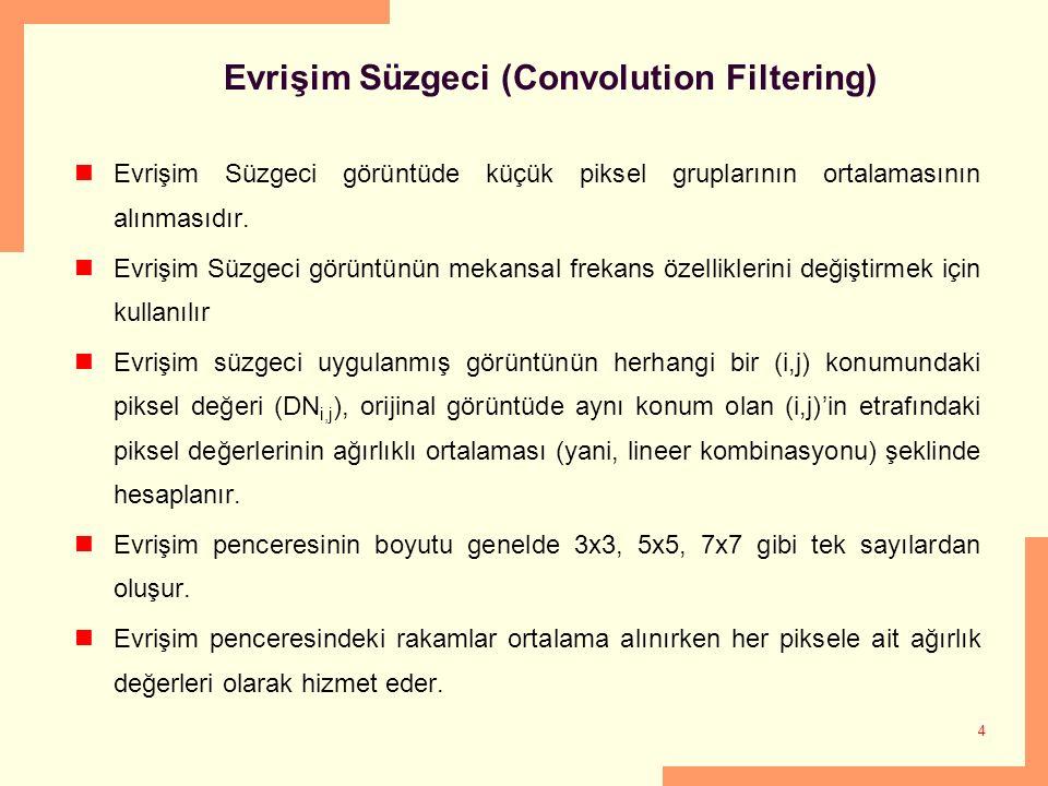 4 Evrişim Süzgeci (Convolution Filtering) Evrişim Süzgeci görüntüde küçük piksel gruplarının ortalamasının alınmasıdır. Evrişim Süzgeci görüntünün mek