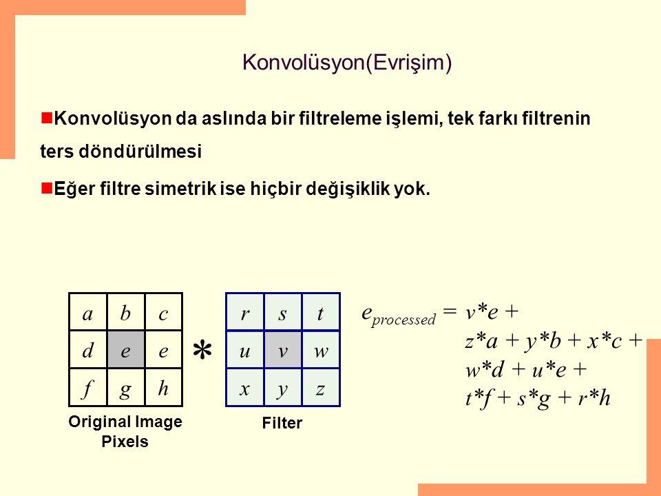 Konvolüsyon(Evrişim) Konvolüsyon da aslında bir filtreleme işlemi, tek farkı filtrenin ters döndürülmesi Eğer filtre simetrik ise hiçbir değişiklik yok.