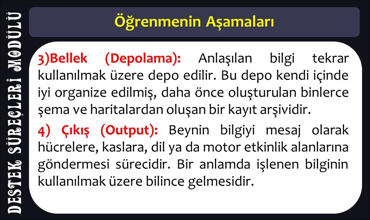 Öğrenmenin Aşamaları 3)Bellek (Depolama): Anlaşılan bilgi tekrar kullanılmak üzere depo edilir. Bu depo kendi içinde iyi organize edilmiş, daha önce o