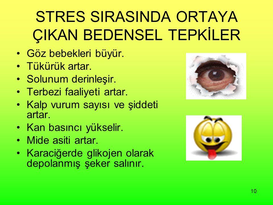 10 STRES SIRASINDA ORTAYA ÇIKAN BEDENSEL TEPKİLER Göz bebekleri büyür.