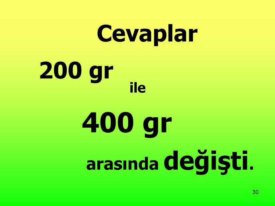 30 Cevaplar 200 gr ile 400 gr arasında değişti.