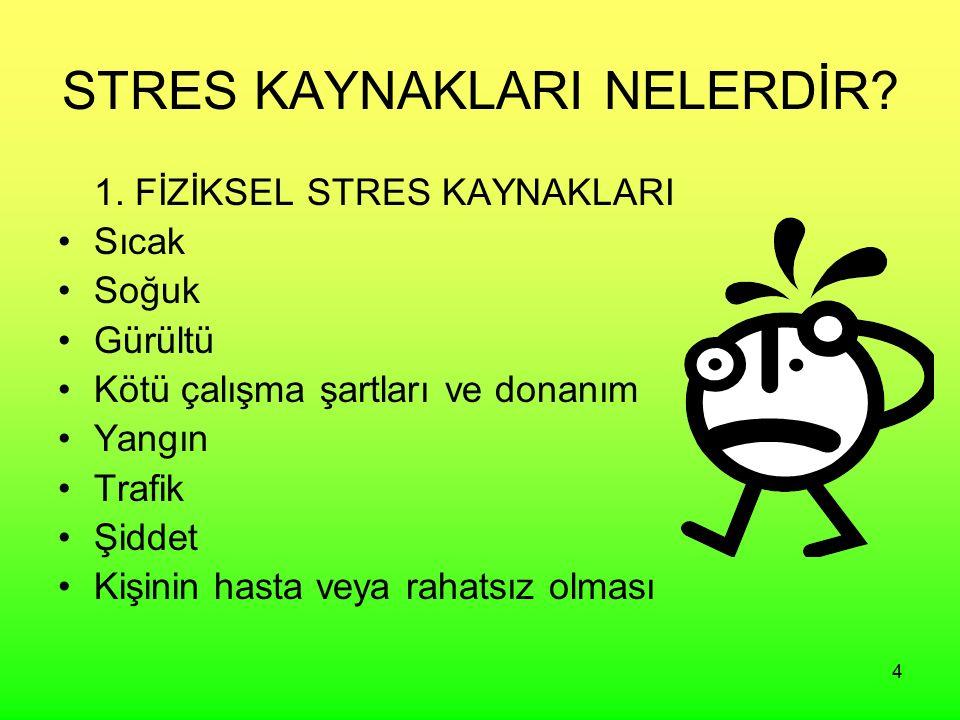 4 STRES KAYNAKLARI NELERDİR? 1. FİZİKSEL STRES KAYNAKLARI Sıcak Soğuk Gürültü Kötü çalışma şartları ve donanım Yangın Trafik Şiddet Kişinin hasta veya