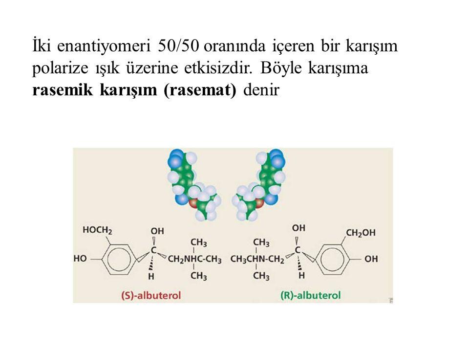 İki enantiyomeri 50/50 oranında içeren bir karışım polarize ışık üzerine etkisizdir. Böyle karışıma rasemik karışım (rasemat) denir
