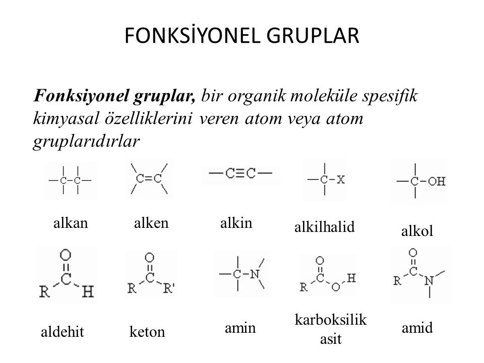 FONKSİYONEL GRUPLAR Fonksiyonel gruplar, bir organik moleküle spesifik kimyasal özelliklerini veren atom veya atom gruplarıdırlar alkanalkenalkin alki