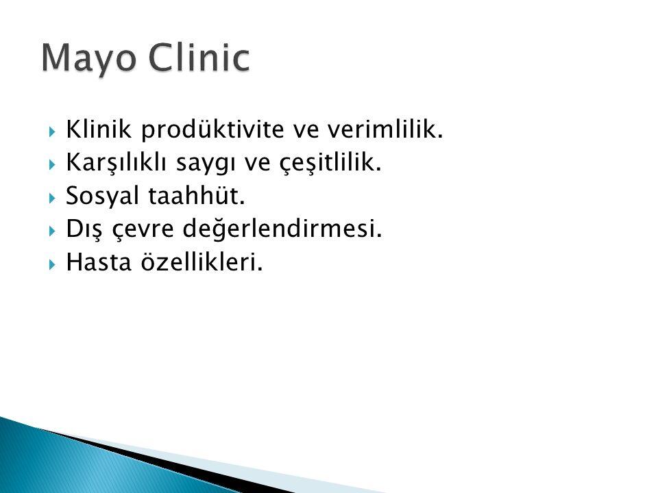 Klinik prodüktivite ve verimlilik.  Karşılıklı saygı ve çeşitlilik.