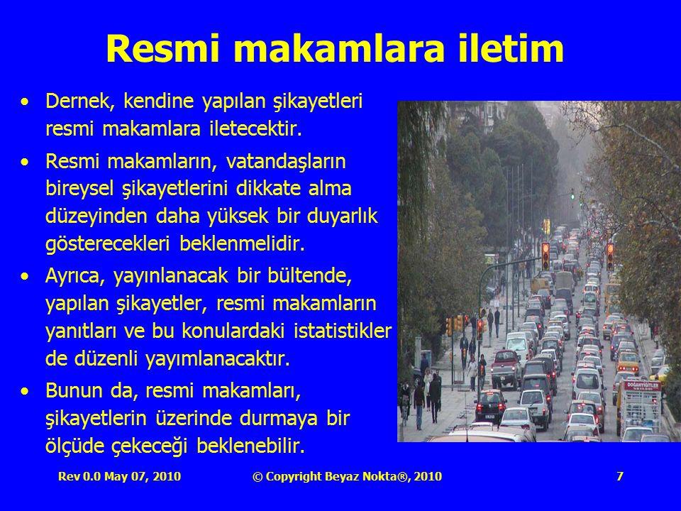 Rev 0.0 May 07, 2010© Copyright Beyaz Nokta®, 201018 Şikayetleri Savsaklayabilecek Memurlar TŞS nin iyi işlemesinin bir ayağını da şikayetleri alan dernek görevlileri ve bu konularda işlem yapacak trafik polisleri oluşturur.