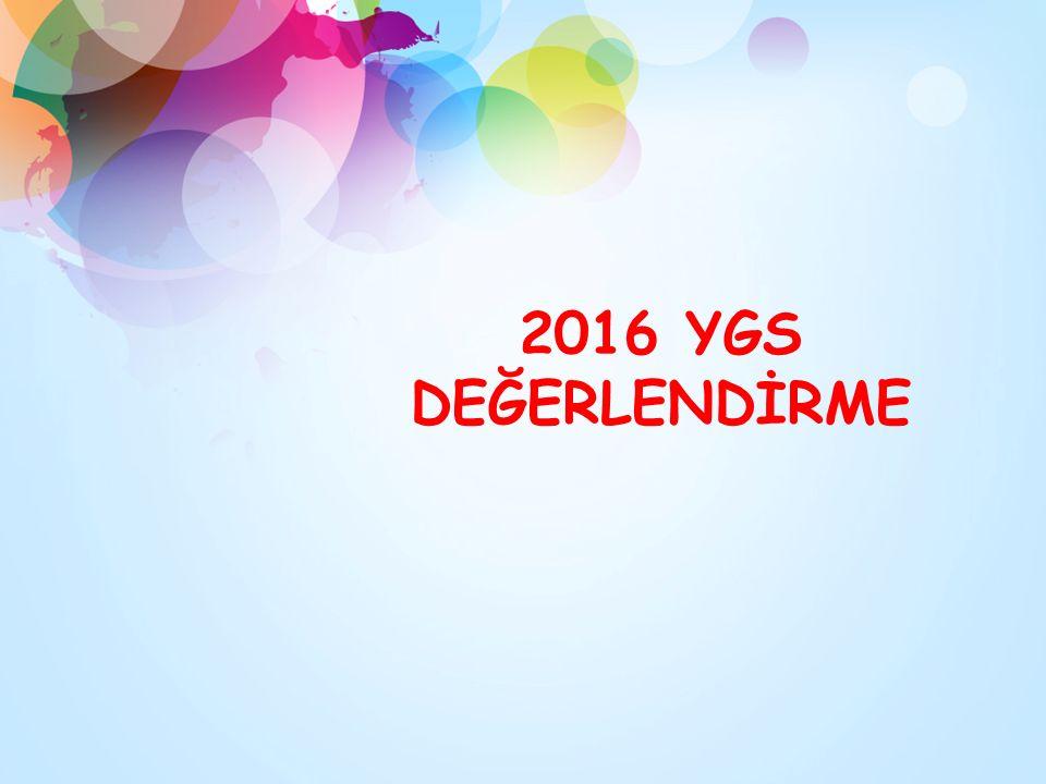 2016 YGS DEĞERLENDİRME