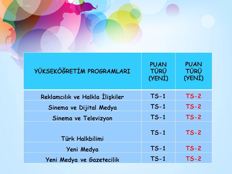 YÜKSEKÖĞRETİM PROGRAMLARI PUAN TÜRÜ (YENİ) Reklamcılık ve Halkla İlişkiler TS-1TS-2 Sinema ve Dijital Medya TS-1TS-2 Sinema ve Televizyon TS-1TS-2 Türk Halkbilimi TS-1TS-2 Yeni Medya TS-1TS-2 Yeni Medya ve Gazetecilik TS-1TS-2