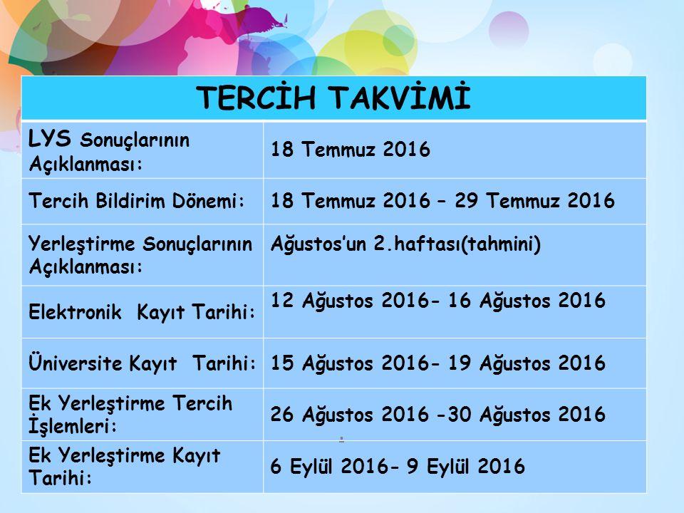 TERCİH TAKVİMİ LYS Sonuçlarının Açıklanması: 18 Temmuz 2016 Tercih Bildirim Dönemi:18 Temmuz 2016 – 29 Temmuz 2016 Yerleştirme Sonuçlarının Açıklanması: Ağustos'un 2.haftası(tahmini) Elektronik Kayıt Tarihi: 12 Ağustos 2016- 16 Ağustos 2016 Üniversite Kayıt Tarihi:15 Ağustos 2016- 19 Ağustos 2016 Ek Yerleştirme Tercih İşlemleri: 26 Ağustos 2016 -30 Ağustos 2016 Ek Yerleştirme Kayıt Tarihi: 6 Eylül 2016- 9 Eylül 2016.