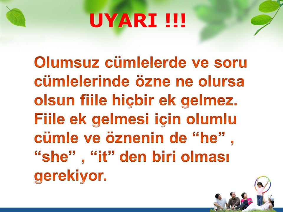 Cümle Şekilleri SORU HALİ Yardımcı FiilSubjectVerb(Fiil) Do I You We They cry Does He She It cry