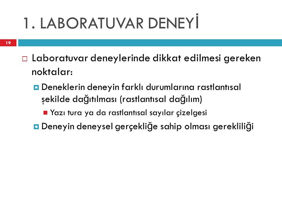 1. LABORATUVAR DENEY İ 19  Laboratuvar deneylerinde dikkat edilmesi gereken noktalar:  Deneklerin deneyin farklı durumlarına rastlantısal şekilde da