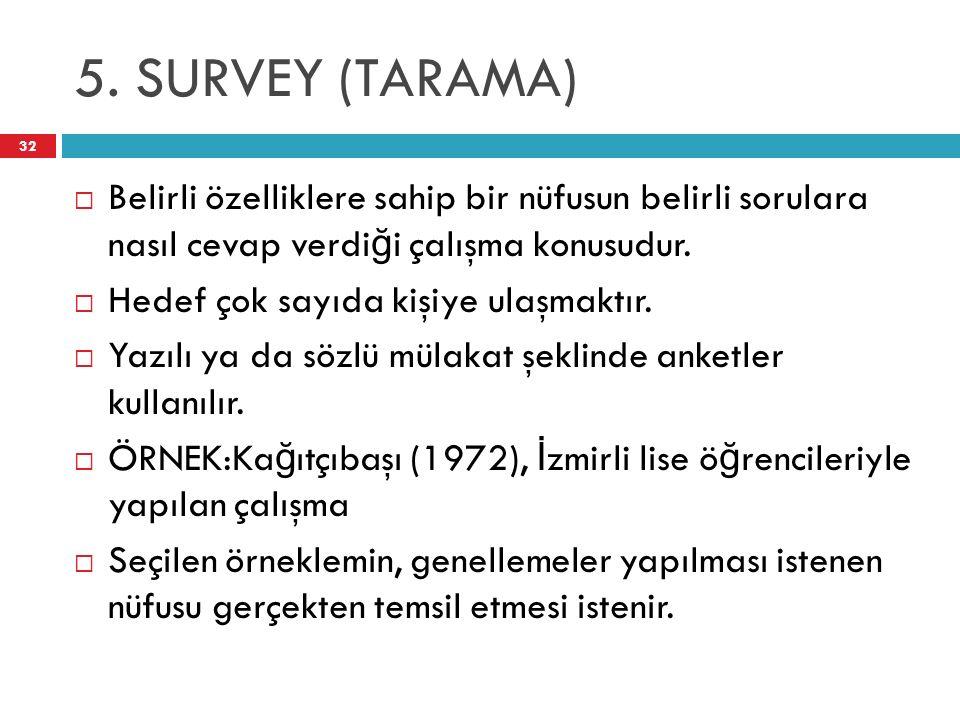 5. SURVEY (TARAMA) 32  Belirli özelliklere sahip bir nüfusun belirli sorulara nasıl cevap verdi ğ i çalışma konusudur.  Hedef çok sayıda kişiye ulaş