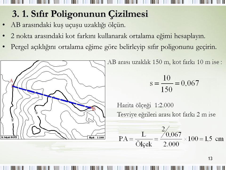 13 AB arasındaki kuş uçuşu uzaklığı ölçün.