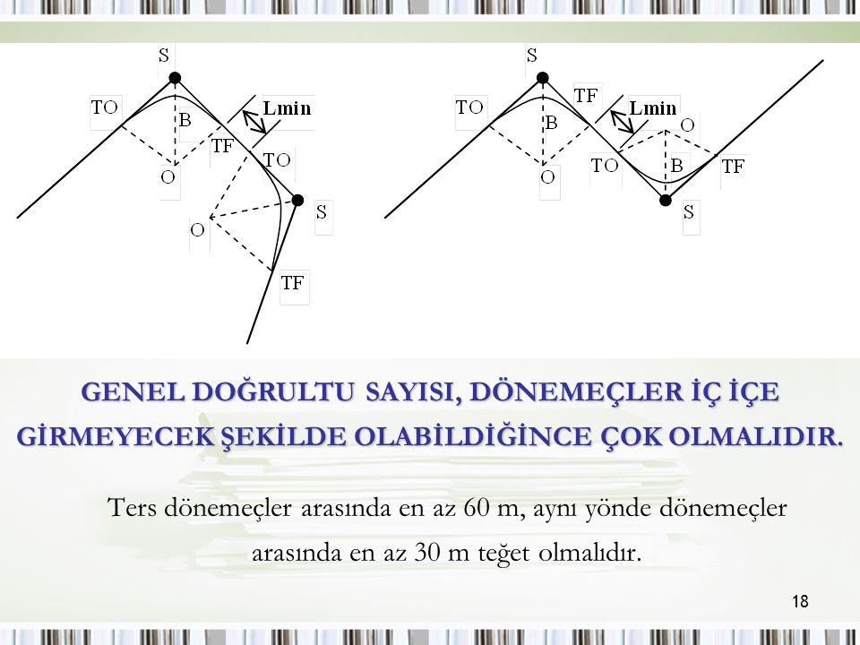 18 Ters dönemeçler arasında en az 60 m, aynı yönde dönemeçler arasında en az 30 m teğet olmalıdır.