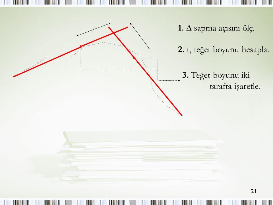 21 1.  sapma açısını ölç. 2. t, teğet boyunu hesapla. 3. Teğet boyunu iki tarafta işaretle.
