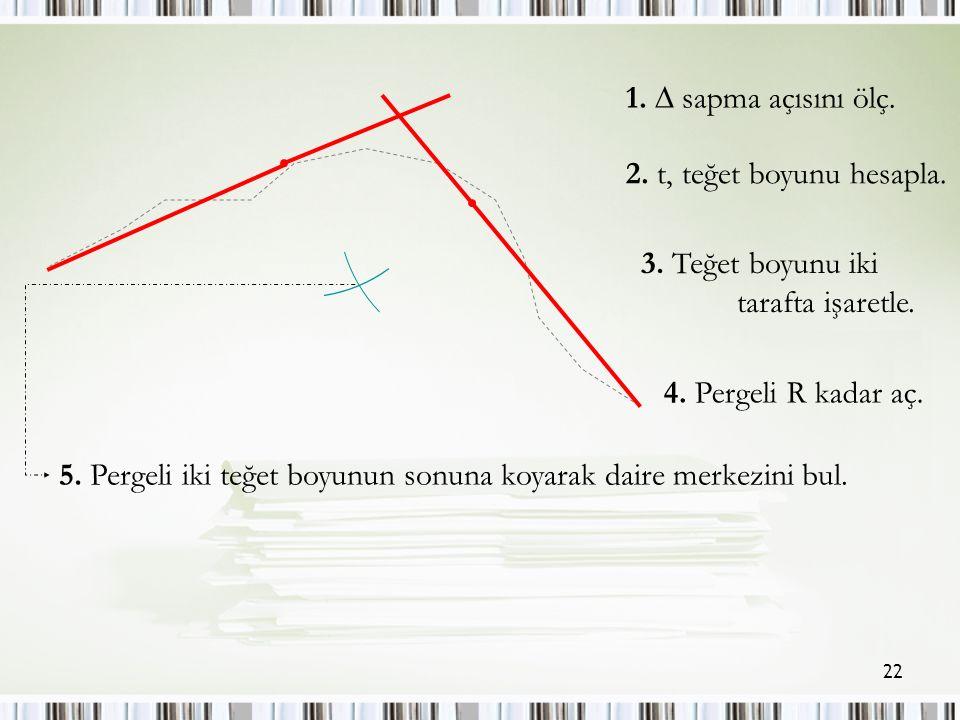 22 1.  sapma açısını ölç. 2. t, teğet boyunu hesapla.