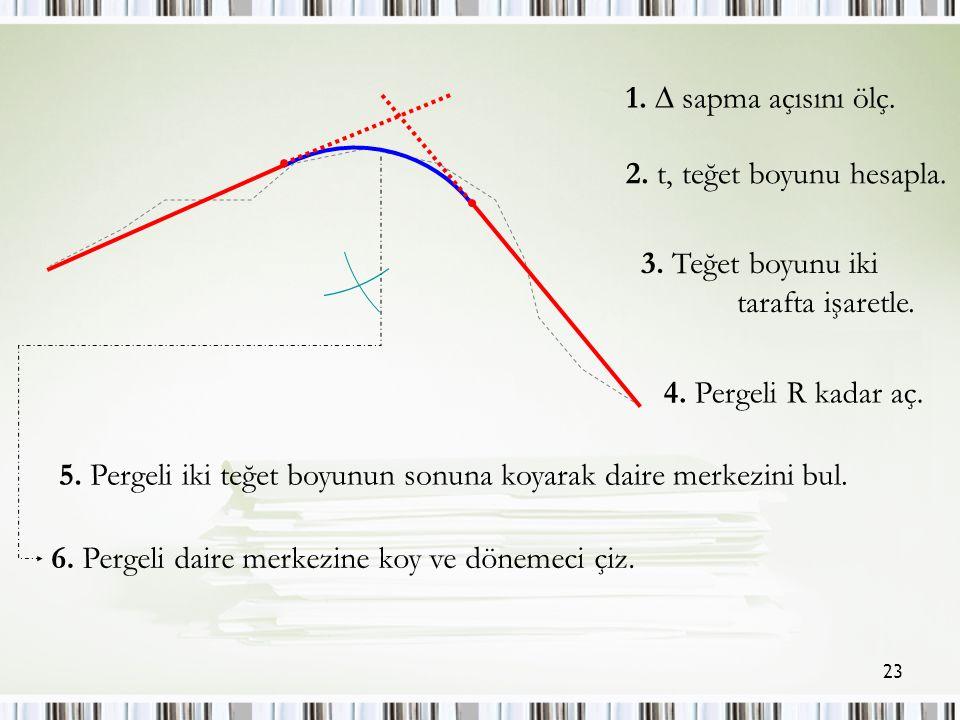 23 1.  sapma açısını ölç. 2. t, teğet boyunu hesapla.