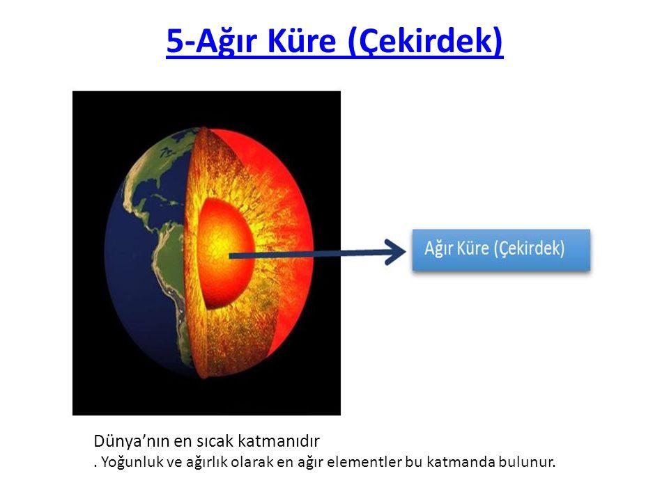 5-Ağır Küre (Çekirdek) Dünya'nın en sıcak katmanıdır.