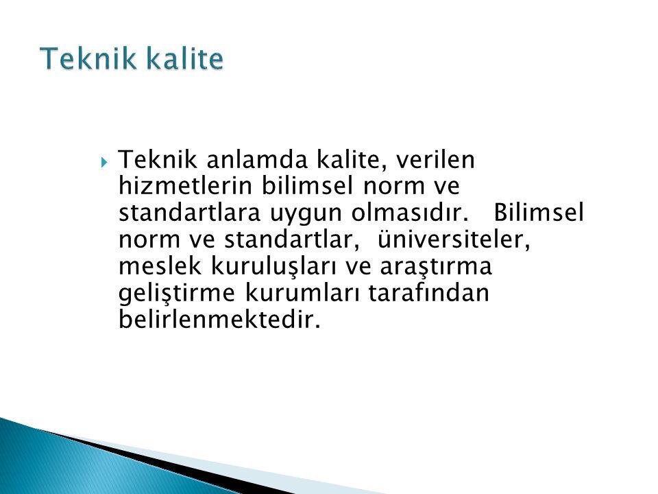  Teknik anlamda kalite, verilen hizmetlerin bilimsel norm ve standartlara uygun olmasıdır.