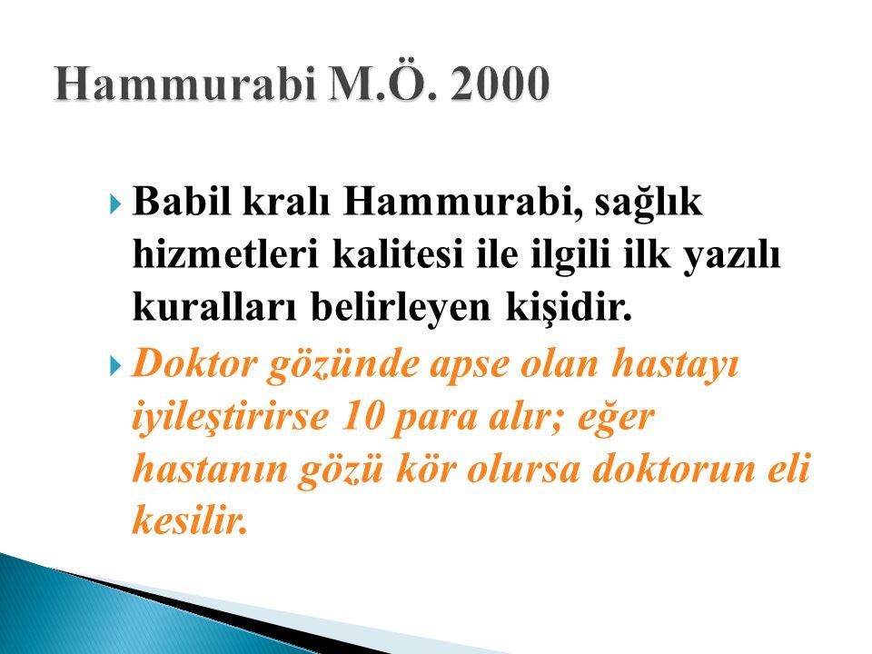  Babil kralı Hammurabi, sağlık hizmetleri kalitesi ile ilgili ilk yazılı kuralları belirleyen kişidir.