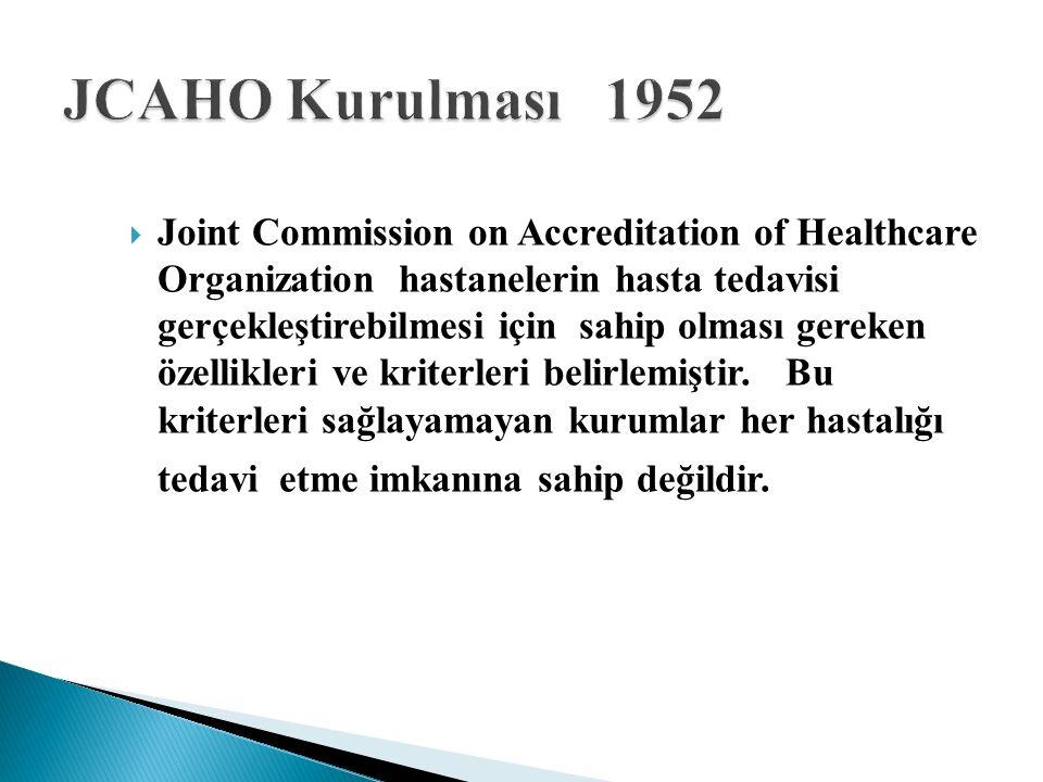  Joint Commission on Accreditation of Healthcare Organization hastanelerin hasta tedavisi gerçekleştirebilmesi için sahip olması gereken özellikleri ve kriterleri belirlemiştir.