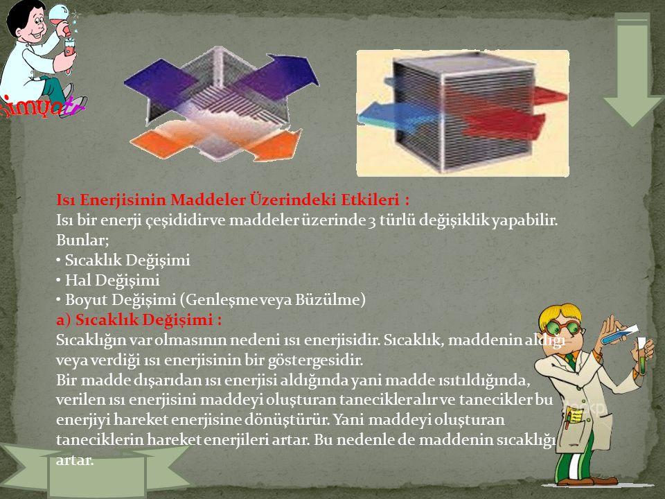 Isı Enerjisinin Maddeler Üzerindeki Etkileri : Isı bir enerji çeşididir ve maddeler üzerinde 3 türlü değişiklik yapabilir.